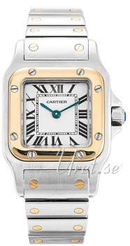 Cartier Santos de Catier White Dial Two Toned Bracelet Ladies