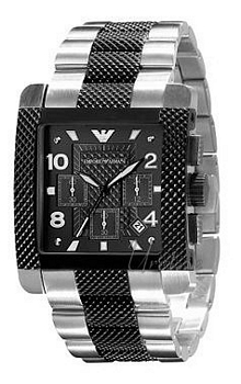 Emporio Armani Mens Sort/Gummi 40x36 mm