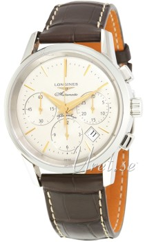Longines Heritage Silver Dial Croco Strap Brown
