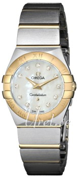 Omega Constellation Brushed 24 mm Yellow Gold Steel MOP Dial
