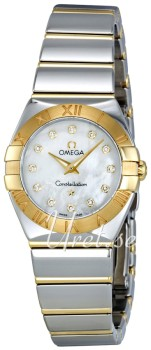 Omega Constellation Polished Quartz Hvid/18 karat guld Ø24 mm