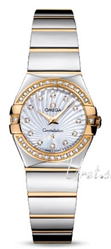 Omega Constellation Polished 24 mm Yellow Gold Steel MOP Dial