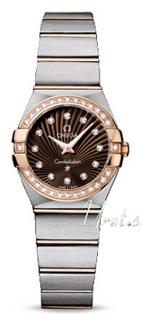 Omega Constellation Brushed 24 mm Rose Gold Steel Brown Dial