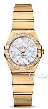 Omega Constellation Brushed Quartz Hvid/18 karat guld Ø24 mm