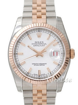 Rolex Datejust White Dial Rose Gold / Steel Jubilee Bracelet