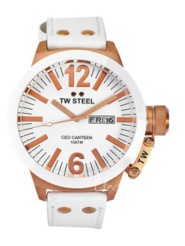 TW Steel Ceo Canteen White Dial Leather Strap
